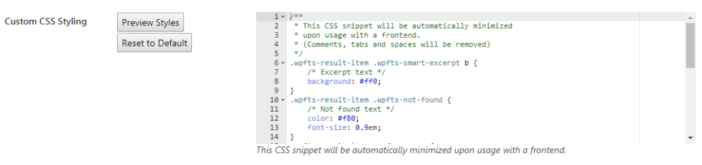 WPFTS Smart Excerpt styling editor